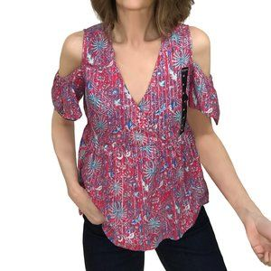 Lucky Brand New Printed Cold Shoulder Top Blouse